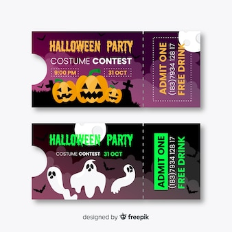 Flaches design halloween-tickets