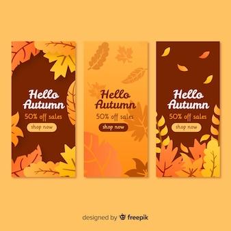 Flaches design herbst sale banner sammlung