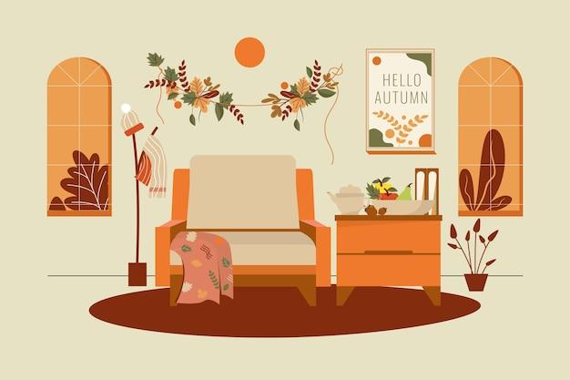 Flaches design herbsthaus mit blättern dekoriert