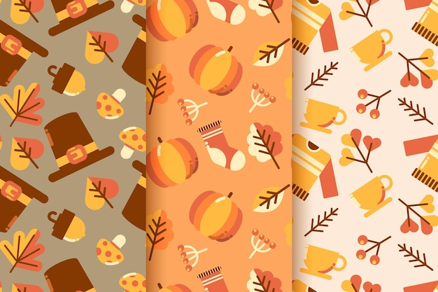 Flaches design herbstmusterpaket