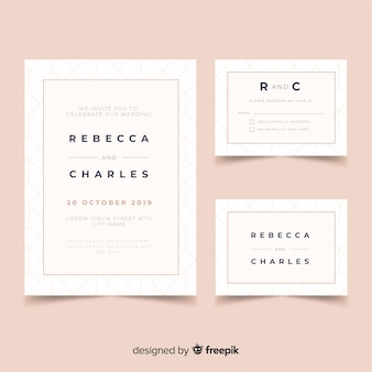 Flaches design hochzeit briefpapier vorlage