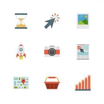 Flaches design-ikonen: kamera, rakete, cursor, sanduhr, karte