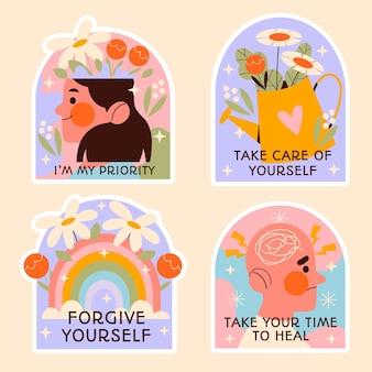 Flaches design-illustrationsset für psychische gesundheit