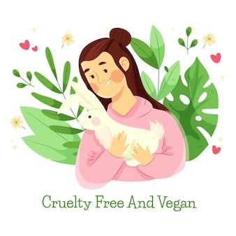 Flaches design illustrierte grausamkeitsfreies und veganes konzept