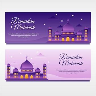 Flaches design illustrierte ramadan mubarak banner design vorlage