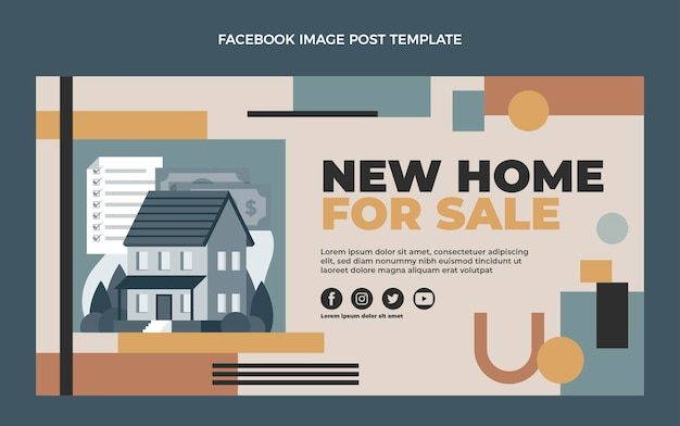 Flaches design immobilien facebook-post