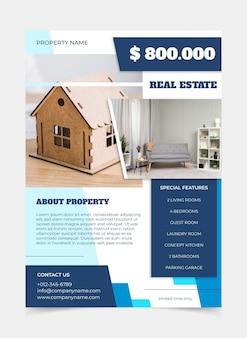 Flaches design-immobilienplakat mit druckfertigem foto
