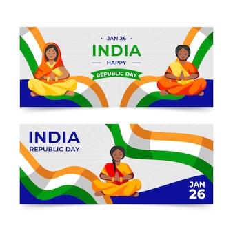 Flaches design indien republik tag banner