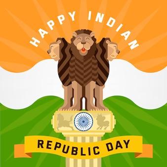 Flaches design indische tag der republik konzept