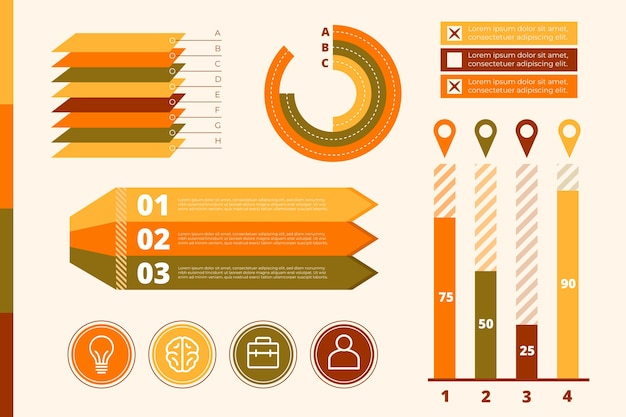 Flaches design infographic mit retro- farbthema