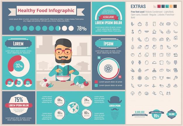 Flaches design infographic-schablone des gesunden lebensmittels
