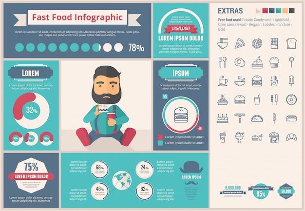 Flaches design infographic-schablone des schnellimbisses