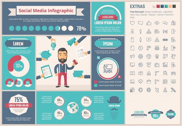 Flaches design infographic-schablone des social media