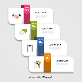Flaches design infographik schritte
