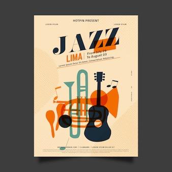 Flaches design international jazz day template design