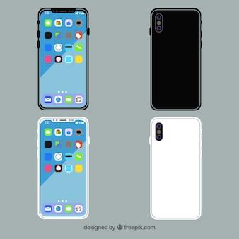 Flaches design iphone x mit verschiedenen ansichten