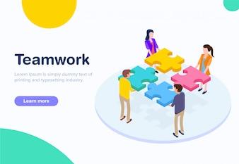 Flaches Design isometrische Teamarbeit
