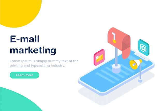 Flaches design isometrisches e-mail-marketing