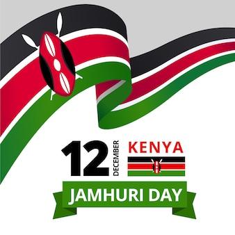 Flaches design jamhuri tagesereignis mit flagge