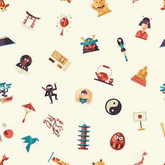 Flaches design-japan-reisemuster mit wahrzeichen, berühmten japanischen symbolen