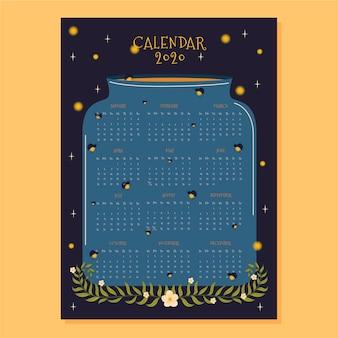 Flaches design kalender 2020 vorlage mit glühwürmchen