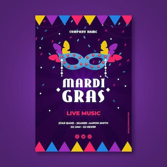 Flaches design karneval feier poster vorlage