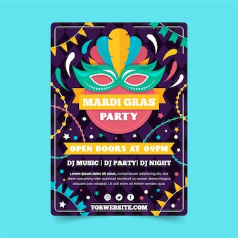 Flaches design karneval flyer vorlage