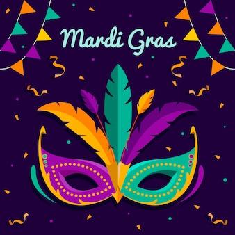 Flaches design karneval mit maske und federn
