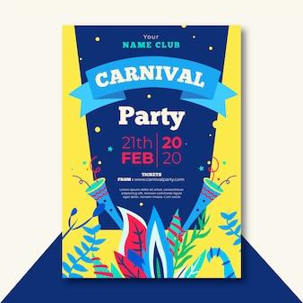 Flaches design karneval party flyer vorlage thema