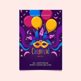 Flaches design karneval party flyer