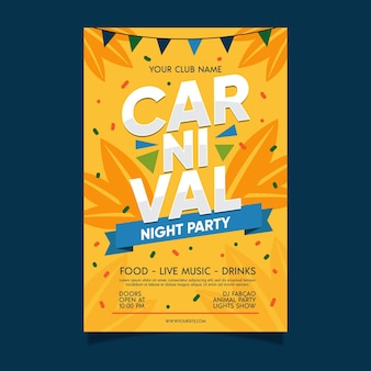 Flaches design karneval party plakat vorlage