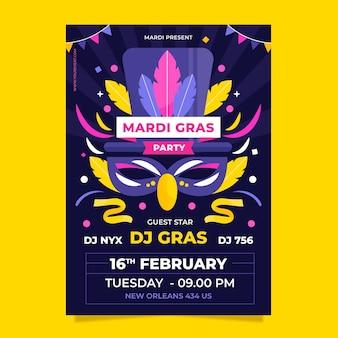 Flaches design karneval poster vorlage