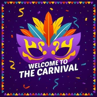 Flaches design karnevalsmaske mit schriftzug