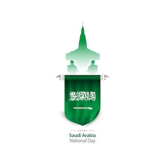 Flaches design königreich saudi-arabien nationalfeiertag banner vorlage