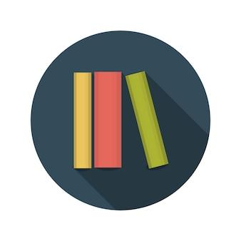 Flaches design-konzept bücher vektor-illustration mit langem schatten. eps10