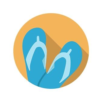 Flaches design-konzept flip-flop-vektor-illustration mit langem schatten. eps10