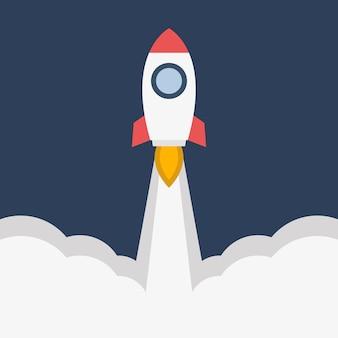 Flaches design-konzept für raketenstart