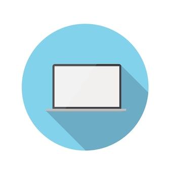 Flaches design-konzept-laptop-ikonen-vektor-illustration mit langem schatten. eps10