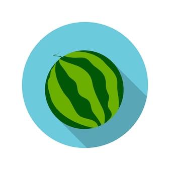 Flaches design-konzept-wassermelone-vektor-illustration mit langem schatten. eps10