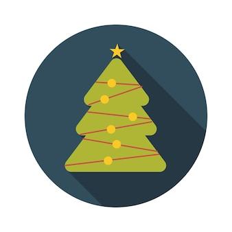 Flaches design-konzept-weihnachtsbaum-vektor-illustration mit langem schatten. eps10