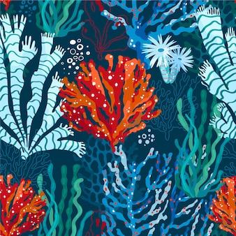 Flaches design korallenmuster
