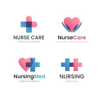 Flaches design krankenschwester logo sammlung