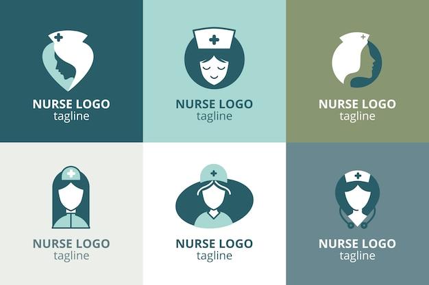 Flaches design krankenschwester logo vorlage sammlung