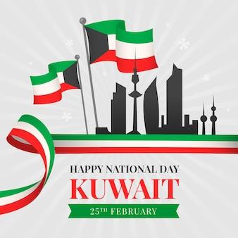 Flaches design kuwait nationalfeiertagsschattenbild der stadt