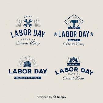 Flaches design labor day abzeichen sammlung