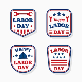 Flaches design labor day label set