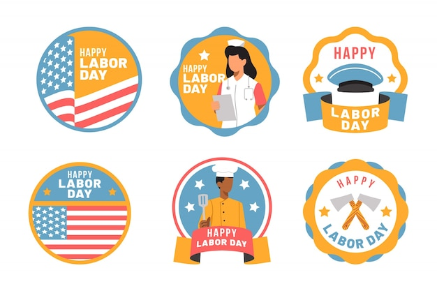 Flaches design labor day label set