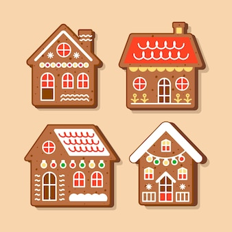 Flaches design lebkuchenhaus sammlung