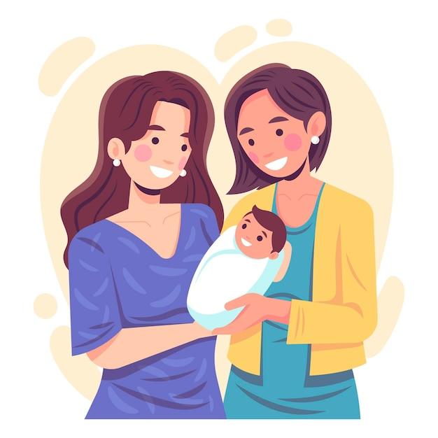 Flaches design lesbenpaar mit ihrem kind