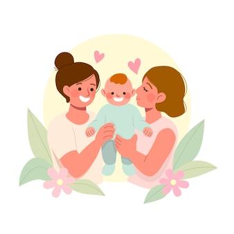 Flaches design lesbenpaar mit kind